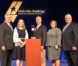 Pewaukee School District representatives at Baldrige Award ceremony