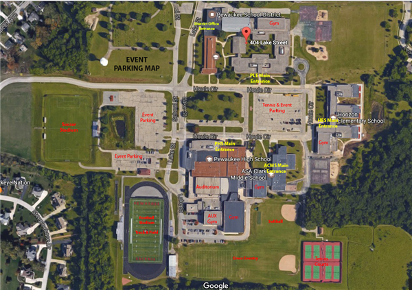 Pewaukee High School Baseball Parking Map