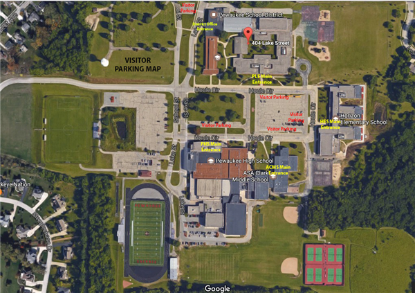 Pewaukee Schools visitor & volunteer parking map
