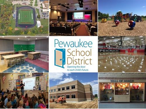 District Logo with assortment of project pictures